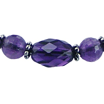 Macrame bracelet amethyst, glass and silver beads 2