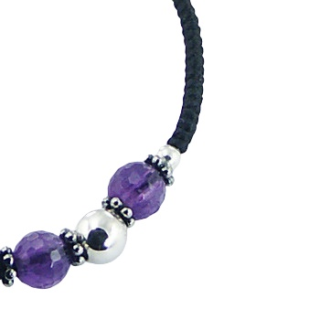 Macrame bracelet amethyst, glass and silver beads 3