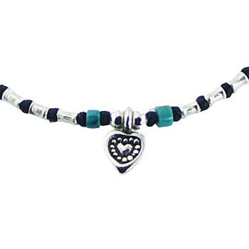Macrame bracelet turquiose beads and silver heart 2