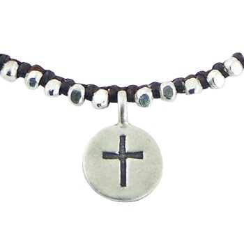 Macrame bracelet silver beads and silver charm with cross 2
