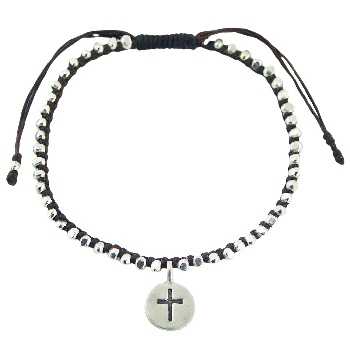 Macrame bracelet silver beads and silver charm with cross