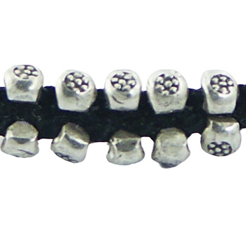 Macrame bracelet two rows silver beads with flower pattern 2