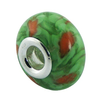 Bunch of flowers murano glass silver bead
