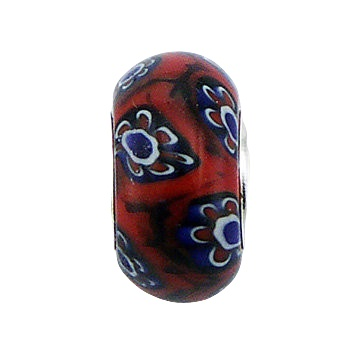 Flowers murano glass silver core bead