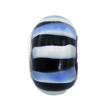 Striped nautic marine murano glass bead