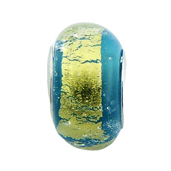 Blue yellow murano glass silver core bead