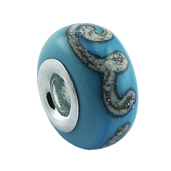 Blue murano glass marbled silver bead