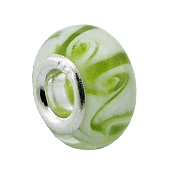 Twirled white murano glass silver core bead