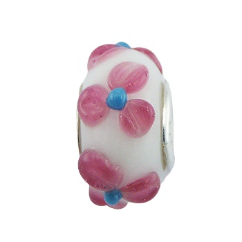 Flower relief murano glass silver core bead