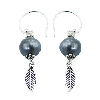 Silver feather freshwater pearl earrings