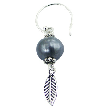 Silver feather freshwater pearl earrings 2