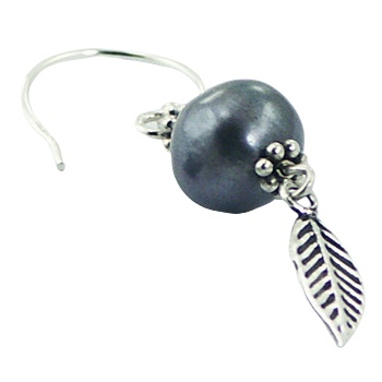 Silver feather freshwater pearl earrings 3