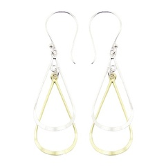 Drop shape silver and gold plated earrings