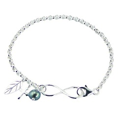 Silver infinity bracelet rolo chain with charms