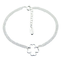 Double silver chain bracelet with lucky clover charm 13 mm