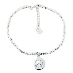 Sterling silver bracelet with cuboid beads and peace disc charm