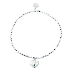 Silver stretch bracelet with beads and puffed heart charm