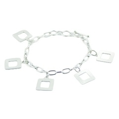 Sterling silver chain bracelet with open square charms