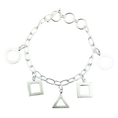 Sterling silver charm bracelet mixed geometrical shapes