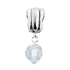 Faceted Swarovski crystal charm conical sterling silver bead