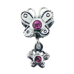 Sterling silver butterfly bead with butterfly charm and Swarovski crystals