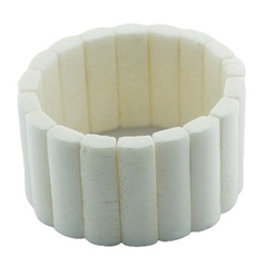 Stretch handmade bracelet with tall white coral columns