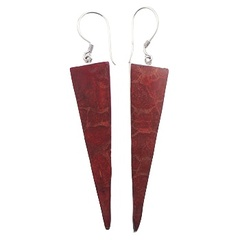 Modern coral red triangle shaped dangle polished sterling silver earrings
