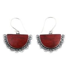 Semi-circle vintage red sponge coral hand soldered sterling silver decorated earrings
