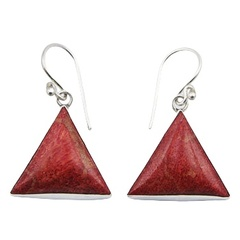 Triangle red sponge coral sterling silver framed dangle earrings