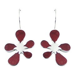 Red sponge coral floral feminine polished sterling silver drop earrings