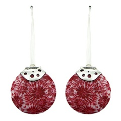Red and white coral hinged disc shaped floral pattern sterling silver earrings