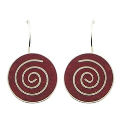 Red round sponge coral sterling silver spiral inlay hallmarked earrings