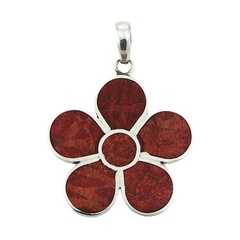 Red sponge coral flower 925 sterling silver pendant