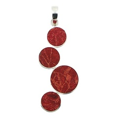 Modern art sterling silver pendant with four natural red sponge coral discs