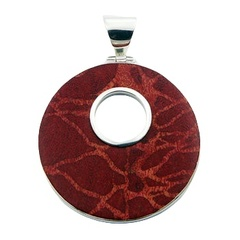 Fashionable red coral pendant disc with open circle in sterling silver frame