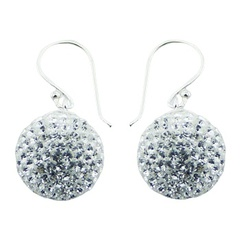 Transparent Czech crystals spheres on swing loops welded bails polished sterling silver earrings