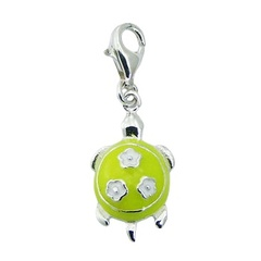 Enamel turtle three flowers sterling silver charm