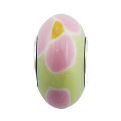 Hand painted pink yellow soft colored Fimo glossy lacquer sterling silver core bead