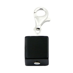 Black agate gemstone cubical charm with sterling silver clasp