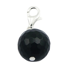 Faceted black agate gemstone round wire sterling silver charm
