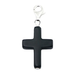Cross shaped spiritual black agate gemstone sterling silver charm