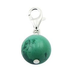 Elegant sphere shaped turquoise gemstone sterling silver charm