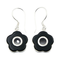 Cute dangle flower shaped contrast black agate and polished sterling silver earrings