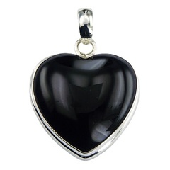 gemstone-pendants/black-agate-convexed-heart