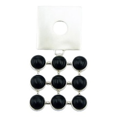 Top fashioned black agate gemstone pendant with square solid silver plate