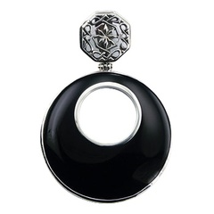 Handmade glossy black agate circle gemstone pendant with ajoure sterling silver bail