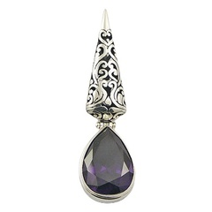 Gorgeous antiqued violet cubic zirconia pendant in ajoure polished sterling silver frame