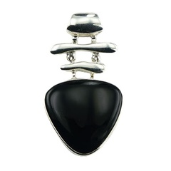 Polished sterling silver exquisite triangle design pendant with black convexed and smoothed agate