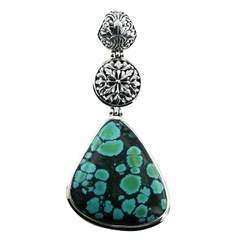 Stunning turquoise cabochon gemstone ajoure polished sterling silver hinged pendant