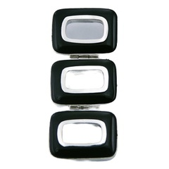 Three black agate rectangle gemstones sterling silver hidden bail pendant